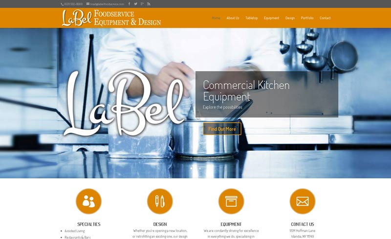 label foodservice website design