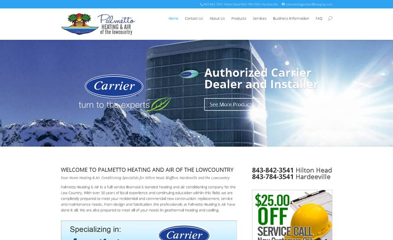 palmetto heating website design